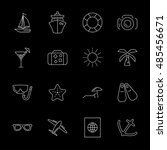 vector travel icon set on black ... | Shutterstock .eps vector #485456671