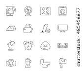 vector household icon set  thin ... | Shutterstock .eps vector #485456677