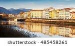 pisa panorama along arno river. ... | Shutterstock . vector #485458261