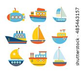 set of sea transport. different ... | Shutterstock .eps vector #485463157