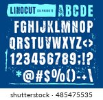 engraved alphabet set... | Shutterstock .eps vector #485475535
