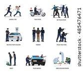 set of policeman. policeman at... | Shutterstock .eps vector #485476471