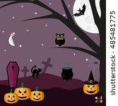 halloween. vector illustration. ... | Shutterstock .eps vector #485481775