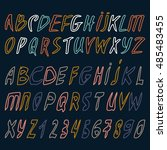hand drawn alphabet in retro... | Shutterstock .eps vector #485483455