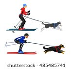 couple  man and woman skijoring ... | Shutterstock .eps vector #485485741