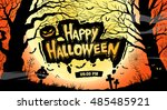 happy halloween. vector... | Shutterstock .eps vector #485485921