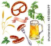 hand drawn food and drink... | Shutterstock . vector #485488699