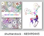 christmas deer greeting cards... | Shutterstock .eps vector #485490445