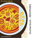vector pizza on a plate. brown... | Shutterstock .eps vector #485490481
