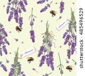 lavender flowers seamless... | Shutterstock .eps vector #485496529