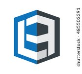 initial letter lf la design box ... | Shutterstock .eps vector #485503291