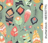 seamless pattern with boho... | Shutterstock .eps vector #485507791