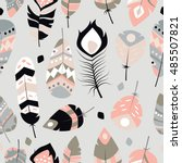 seamless pattern with boho... | Shutterstock .eps vector #485507821