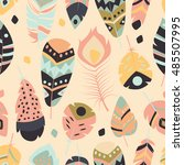seamless pattern with boho... | Shutterstock .eps vector #485507995