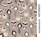 seamless pattern with boho... | Shutterstock .eps vector #485508001