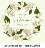vector jasmine flowers round... | Shutterstock .eps vector #485508985