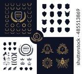 luxury crests logo design set | Shutterstock .eps vector #485513869