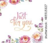 wildflower rose flower frame in ...   Shutterstock . vector #485515327