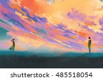 man and woman standing opposite ... | Shutterstock . vector #485518054
