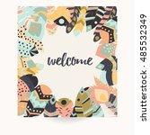 postcard design with...   Shutterstock .eps vector #485532349