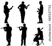 silhouettes street musicians... | Shutterstock .eps vector #485537731