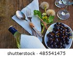 bottle of white wine  grapes ... | Shutterstock . vector #485541475