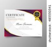 certificate template awards... | Shutterstock .eps vector #485550541
