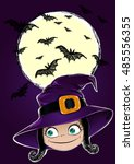 halloween background happy... | Shutterstock .eps vector #485556355