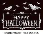 halloween vector card. witch ... | Shutterstock .eps vector #485556415