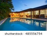 backyard with swimming pool in... | Shutterstock . vector #485556754