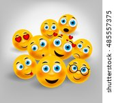 smiley faces  | Shutterstock .eps vector #485557375