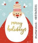 christmas greeting card with... | Shutterstock .eps vector #485565031