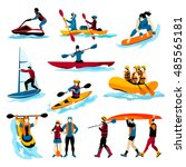 extreme water sports flat color ... | Shutterstock . vector #485565181