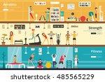 aerobics strength fitness flat... | Shutterstock .eps vector #485565229