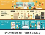 get stronger fitness and gym... | Shutterstock .eps vector #485565319