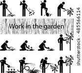 work in the garden icons | Shutterstock .eps vector #485566114