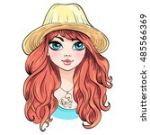 vector beautiful fashionable... | Shutterstock .eps vector #485566369