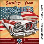 vintage touristic greeting card ... | Shutterstock .eps vector #485574895