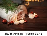 christmas spa set on wooden... | Shutterstock . vector #485581171