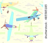 seamless pattern with planes | Shutterstock .eps vector #485585185