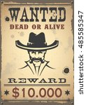 wanted vintage western poster | Shutterstock .eps vector #485585347