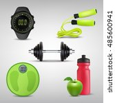 fitness icons realistic vector...