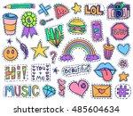 patch badges set. doodle sketch ... | Shutterstock .eps vector #485604634