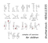 complex of exercises for... | Shutterstock .eps vector #485611555