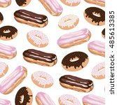 seamless pattern with eclair... | Shutterstock .eps vector #485613385