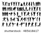 collage of silhouette business...   Shutterstock .eps vector #485618617