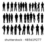 collage of silhouette business... | Shutterstock .eps vector #485619277