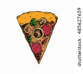 slice of pizza. hand drawn...