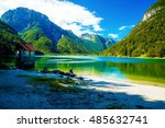 beautiful landscape  lake with... | Shutterstock . vector #485632741