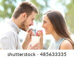 side view of a happy couple... | Shutterstock . vector #485633335